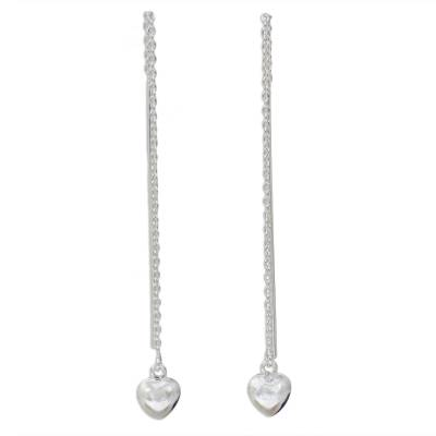 Sterling Silver Dangle Threader Earrings with Hearts