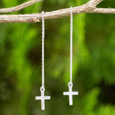 Sterling Silver Threader Earrings Chain Of Purity Hand Crafted Cross