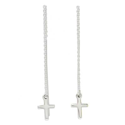 Hand Crafted Sterling Silver Cross Threader Earrings