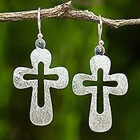 Sterling silver dangle earrings, 'Shining Crosses' - Sterling Silver Cross Earrings from Thailand