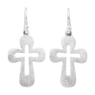 Sterling silver dangle earrings, 'Shining Crosses' - Sterling Silver Cross Earrings from Thailand