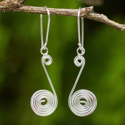 Sterling silver dangle earrings, 'Young Fronds' - Handmade Sterling Silver Dangle Earrings from Thailand