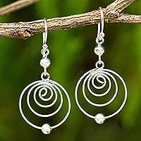 Sterling silver dangle earrings, 'Point A' - Modern Sterling Silver Dangle Earrings with Spiral Motif