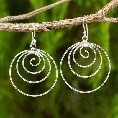 Sterling silver dangle earrings, 'Ever Inward' - Spiral Dangle Earrings Hand Crafted from Sterling Silver
