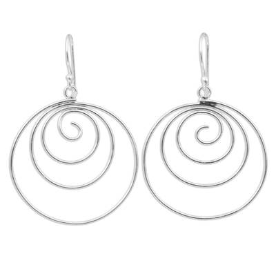 Spiral Dangle Earrings Hand Crafted from Sterling Silver