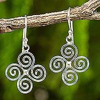 Sterling silver dangle earrings, 'Spiraling WInds'