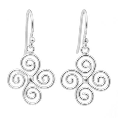 Artisan Crafted Spiral Design Sterling Silver Earrings