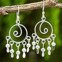 Sterling silver chandelier earrings, 'Fancy' - Hand Crafted Sterling Silver Chandelier Style Earrings