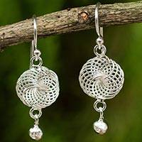 Sterling silver dangle earrings, 'Natural Unison' - Artisan Crafted Thai Sterling Silver Dangle Earrings