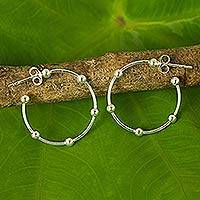 Sterling silver half-hoop earrings, 'Cosmos' (1 inch) - 1-Inch Sterling Silver 925 Half Hoop Earrings with Posts