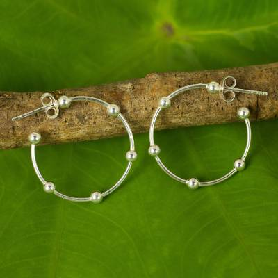 Sterling silver half-hoop earrings, Cosmos (1 inch)