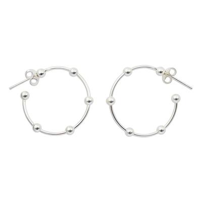 Sterling silver half-hoop earrings, 'Cosmos' (1 inch) - 1-Inch Sterling Silver 925 Half Hoop Earrings with Posts