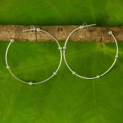 Sterling silver half-hoop earrings, 'Cosmos' (1.8 inch) - 1.8-Inch Sterling Silver Half Hoop Earrings from Thailand