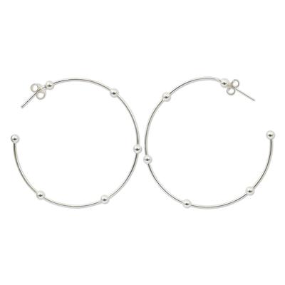 1.8-Inch Sterling Silver Half Hoop Earrings from Thailand