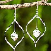 Sterling silver dangle earrings, 'Heart Pendulum' - Heart Themed Sterling Silver 925 Dangle Earrings