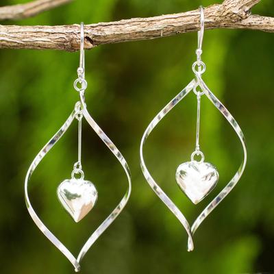 Sterling silver dangle earrings, 'Heart Pendulum' - Heart Themed Sterling Silver 925 Dangle Earrings