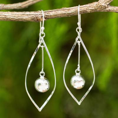 Sterling silver dangle earrings, 'Captive Pendulums' - Artisan Crafted 925 Sterling Silver Articulated Dangle Earri