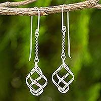 Sterling silver dangle earrings, 'Windblown'