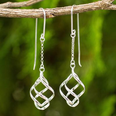 Sterling silver dangle earrings, 'Windblown' - Thai Artisan Crafted Sterling Silver Dangle Earrings