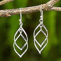 Sterling silver dangle earrings, 'Forever Joined' - Contemporary Dangle Earrings in Polished Sterling Silver