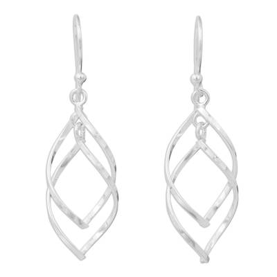 Contemporary Dangle Earrings in Polished Sterling Silver