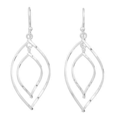 Modern Sterling Silver Dangle Earrings with Polished Finish