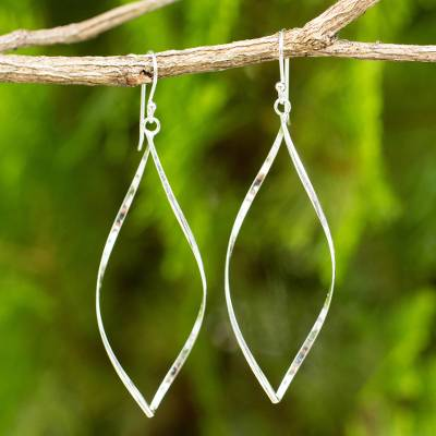 Sterling silver dangle earrings, 'Curvature' - Sterling Silver Dangle Earrings with Curved Marquise Shape