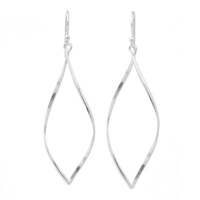 Sterling Silver Dangle Earrings with Curved Marquise Shape