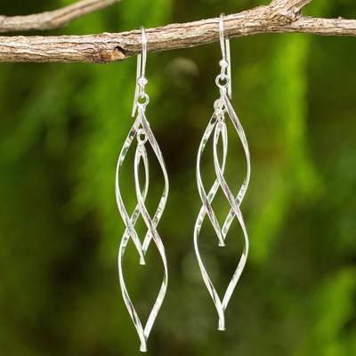 Sterling silver dangle earrings, 'Ribbon Helix' - Contemporary Design Dangle Earrings in Sterling Silver