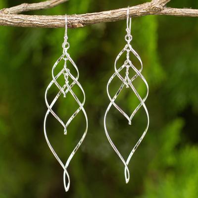 Sterling silver dangle earrings, 'Forever Linked' - Helix Design Dangle Earrings in 925 Sterling Silver