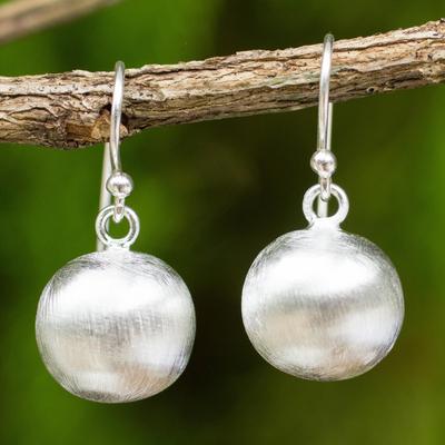 Sterling silver dangle earrings, 'Satin Ball' - Brushed Satin Spherical Dangle Earrings in Sterling Silver