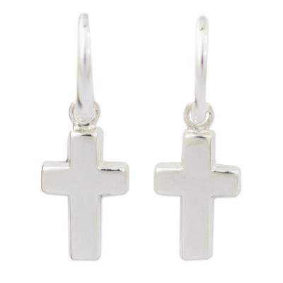 Sterling silver half-hoop earrings, 'Solid Faith' - Sterling Silver Half Hoop Earrings with Cross Charms
