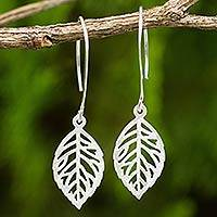 Sterling silver dangle earrings, 'Rose Leaf' - Brushed Finish Rose Leaf Sterling Silver Dangle Earrings