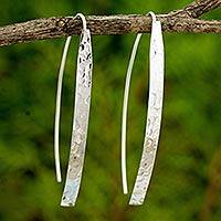 Sterling silver drop earrings, 'Modern Aesthetic' - Modern Drop Earrings in Hammered Sterling Silver