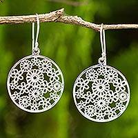 Sterling silver dangle earrings, 'Daisy Garden' - Sterling Silver Daisy Earrings Crafted by Thai Artisan