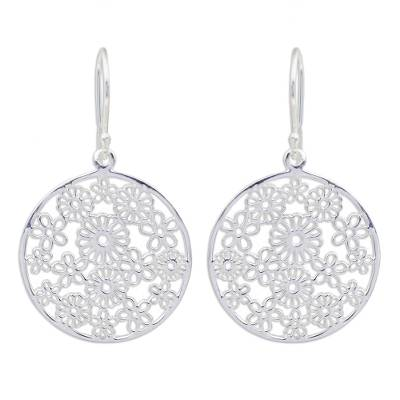 Sterling silver dangle earrings, 'Daisy Garden' - Fair Trade Hand Crafted Modern 925 Sterling Silver Daisy Flo