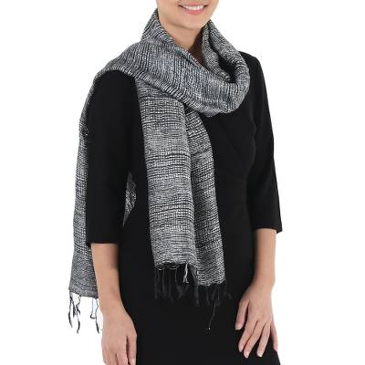 Silk scarf, Fresh Breeze in Slate