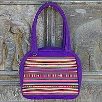 Cotton appliqué handbag, 'Purple Chic Lisu' - Multicolor Lisu Hill Tribe Applique on Purple Cotton Handbag