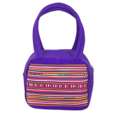 Novica Cotton appliqué handbag, Purple Chic Lisu