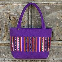 Cotton shoulder bag, 'Lavender Lisu' - Multicolor Geometric Applique on Hill Tribe Shoulder Bag