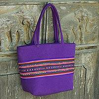 Cotton shoulder bag, 'Sensational Lisu in Purple' - Purple Shoulder Bag with Hand Sewn Lisu Hill Tribe Applique