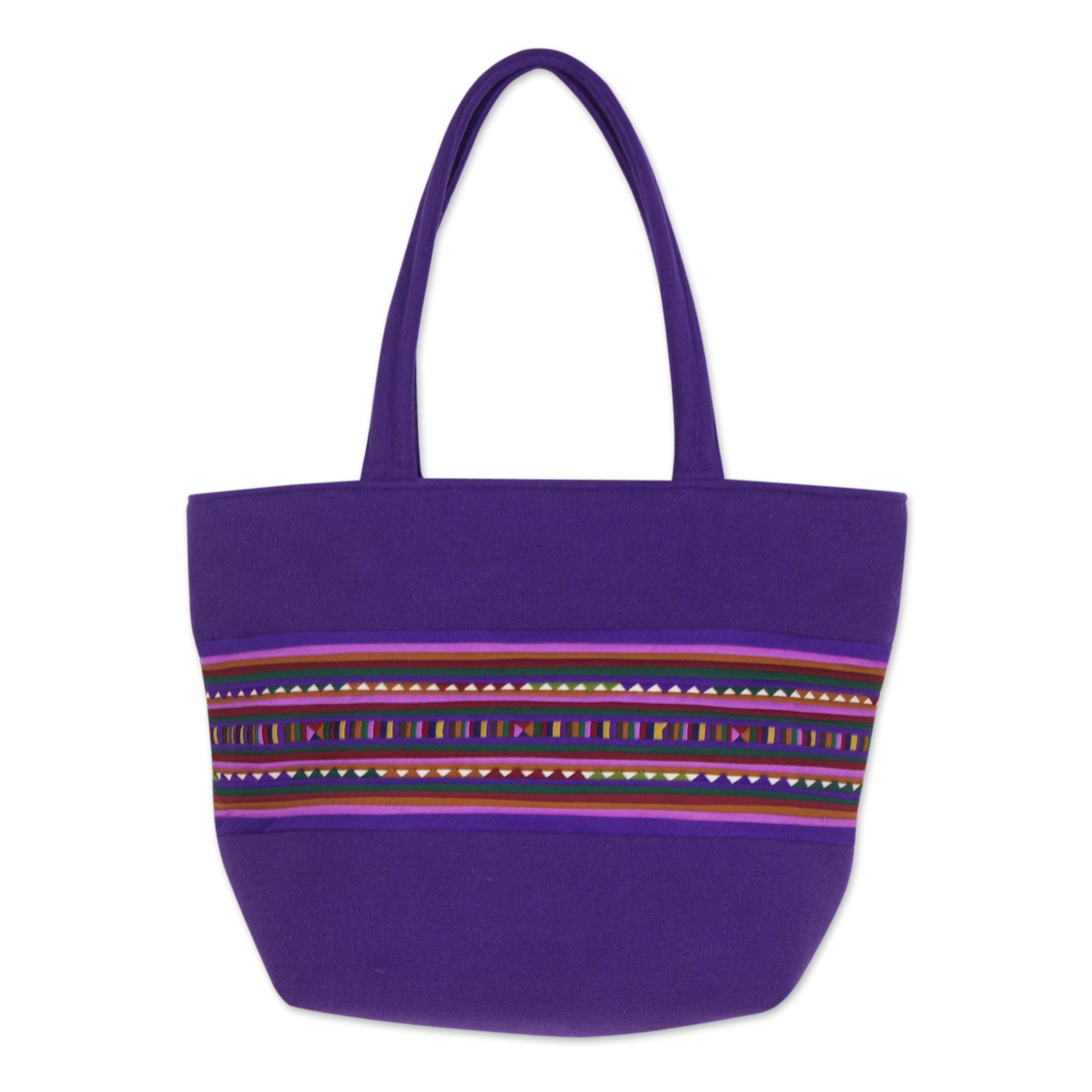 Novica Cotton shoulder bag, Lavender Lisu