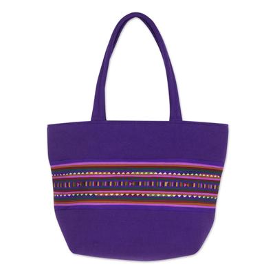 Novica Cotton shoulder bag, Sensational Lisu in Purple