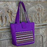 Cotton shoulder bag, 'Lisu Realm in Purple' - Lisu Hill Tribe Applique on Purple Cotton Shoulder Bag