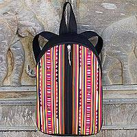 Cotton applique backpack, 'Lisu Rainbow Voyage' - Multicolor Lisu Hill Tribe Applique on Black Cotton Backpack