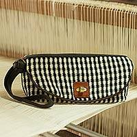 Cotton and leather accent wristlet bag, 'Lucky Domino' - Black and White Gingham Wristlet Bag with Leather Accents