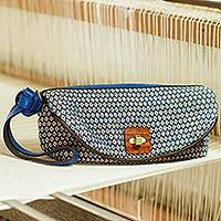 Cotton and leather accent wristlet bag, 'Lucky Blue Dok Pi Kul' - Hand Woven Cotton Wristlet Bag with Classic Thai Flowers