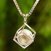 Rose gold plated quartz pendant necklace, 'Translucent Raindrop' - Quartz and Rose Gold-Plated Thai Artisan-Crafted Necklace