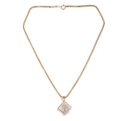 Rose gold plated quartz pendant necklace, 'Translucent Raindrop' - Quartz and Rose Gold-Plated Thai Artisan-Crafted Necklace