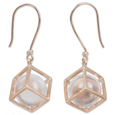 Rose gold plated quartz dangle earrings, 'Frozen Rain' - Artisan Crafted Quartz and Rose Gold Plated Dangle Earrings